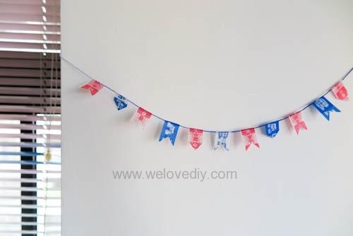 DIY 雙和號雜貨紙膠帶雙十國慶小旗吊飾 (10)