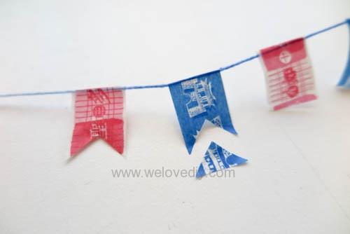 DIY 雙和號雜貨紙膠帶雙十國慶小旗吊飾 (7)