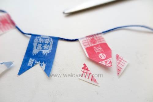 DIY 雙和號雜貨紙膠帶雙十國慶小旗吊飾 (8)