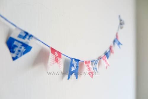 DIY 雙和號雜貨紙膠帶雙十國慶小旗吊飾 (9)