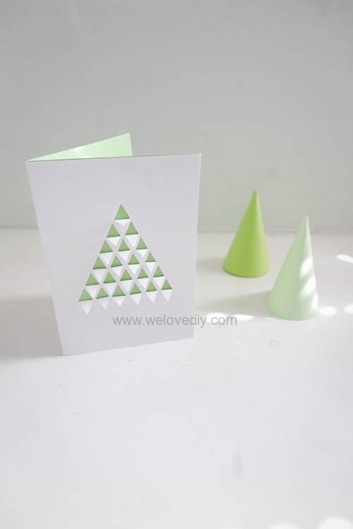 3D 幾何三角聖誕樹手工卡片 (8)