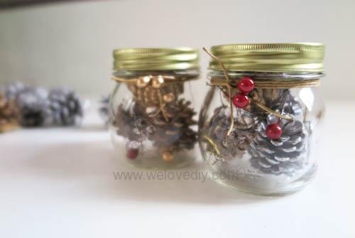 DIY 聖誕節應景松果玻璃罐子擺飾 (5)