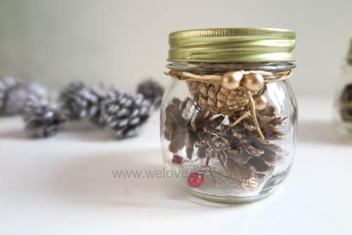 DIY 聖誕節應景松果玻璃罐子擺飾 (6)