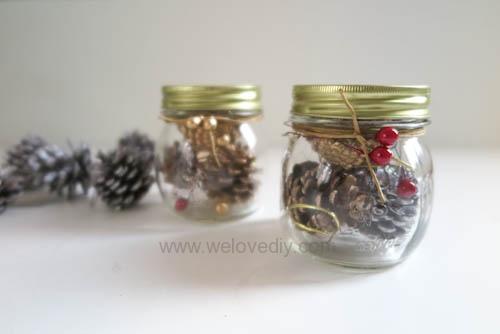DIY 聖誕節應景松果玻璃罐子擺飾 (7)