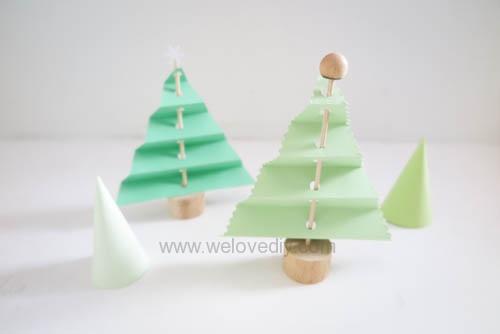 DIY 聖誕節紙做站立折疊手工聖誕樹 (12)