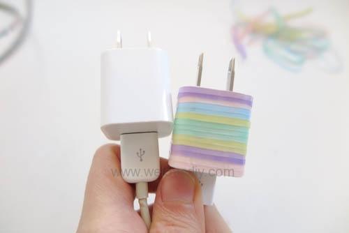 DIY 果凍顏色橡皮筋 iphone 充電插座繽紛大改造 (7)
