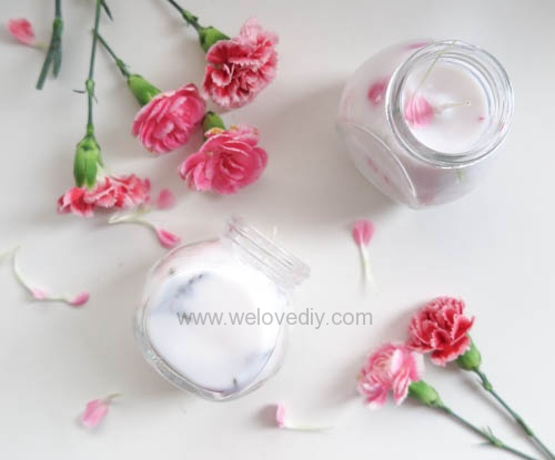 DIY 母親節手作禮物康乃馨花朵手工精油蠟燭 (10)