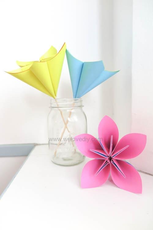 DIY 春天母親節手工紙做雛菊花束花朵 38 婦女節 (18)