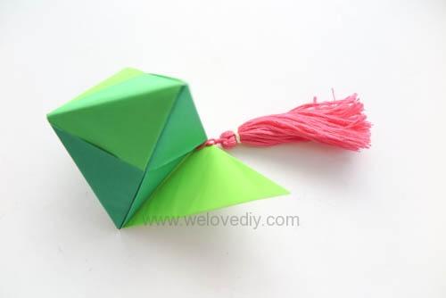 DIY 端午節手作三色摺紙粽子手工吊飾作法