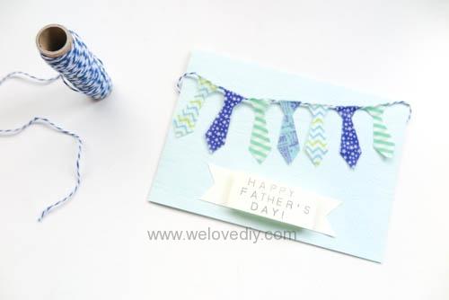 DIY 父親節手工卡片紙膠帶領帶掛飾 (1)