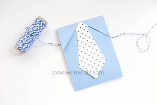 DIY 父親節爸爸領帶三折手工卡片教學 (9)