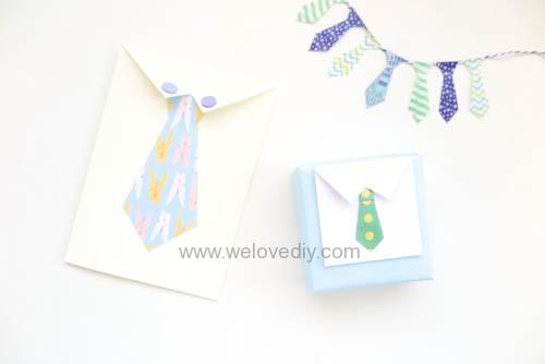 DIY 父親節襯衫領帶親子禮物包裝手工卡片