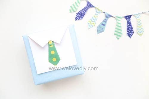 DIY 父親節襯衫領帶附卡片的禮物包裝
