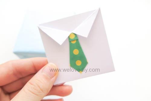 DIY 父親節 襯衫領帶禮物包裝親子手工卡片 (8)