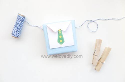 DIY 父親節 襯衫領帶禮物包裝親子手工卡片