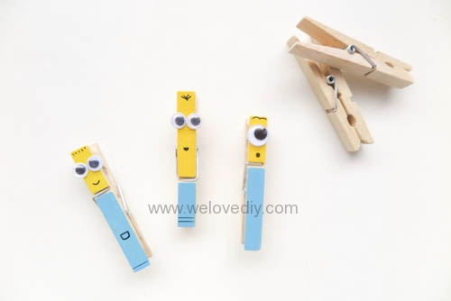 DIY 親手手作小小兵造型木頭木質曬衣夾教學 (7)