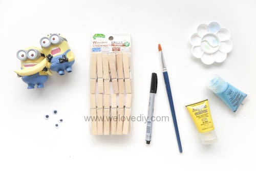DIY 親手手作小小兵造型木頭木質曬衣夾教學 (8)