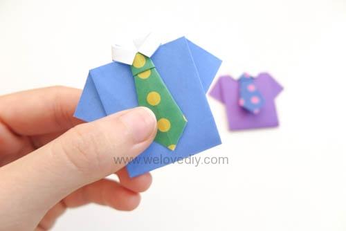 DIY Father's Day 父親節親子手作襯衫領帶摺紙教學 (10)