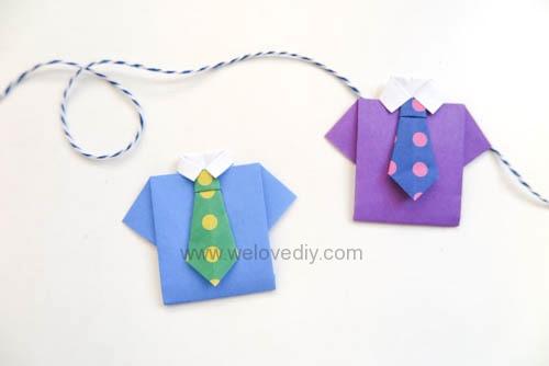 DIY Father's Day 父親節親子手作襯衫領帶摺紙教學 (11)