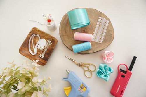 DIY 彌月禮嬰兒頭飾新生兒緞帶頭花 HAO HUO 好貨 (1)