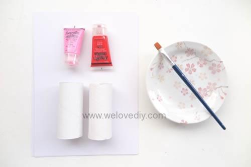 DIY 情人節廢物利用衛生紙捲軸做愛心印章 (1)