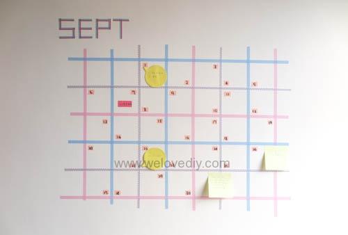 DIY 紙膠帶月曆 開學季 租屋族的家居裝飾 (12)