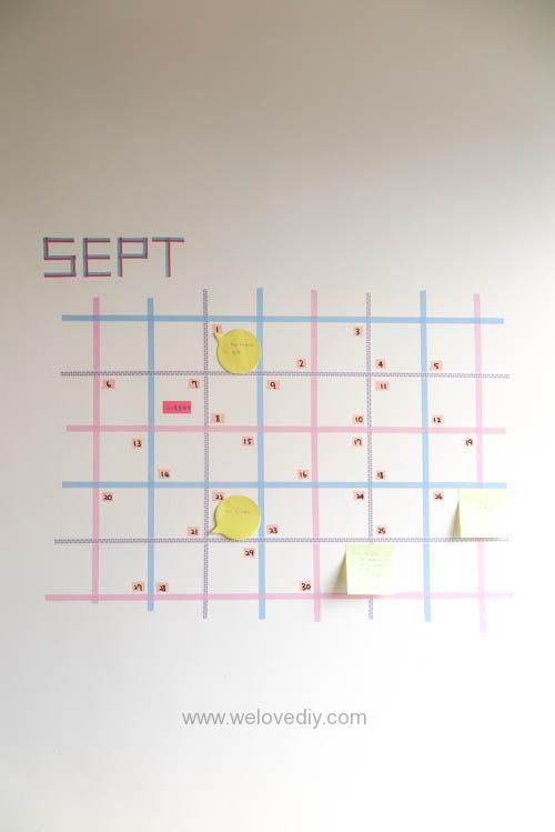 DIY 紙膠帶月曆 開學季 租屋族的家居裝飾 (13)