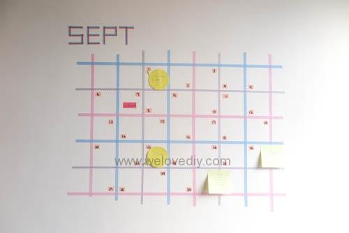 DIY 紙膠帶月曆 開學季 租屋族的家居裝飾 (14)