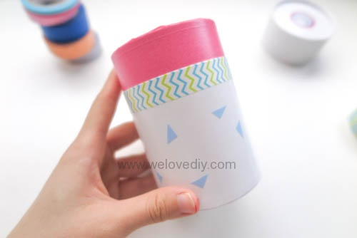 DIY 開學季紙膠帶廢物利用餅乾包裝紙盒做筆筒 (7)