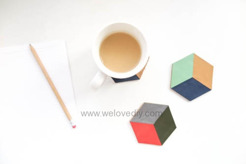 DIY 手作碎皮片廢物利用幾何圖型杯墊 (1)