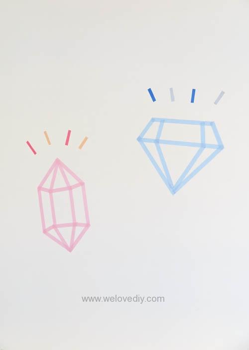 DIY 開學季紙膠帶鑽石宿舍租屋牆壁裝飾 (1)