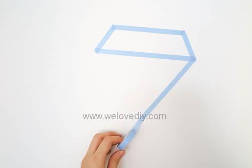 DIY 開學季紙膠帶鑽石宿舍租屋牆壁裝飾 (3)