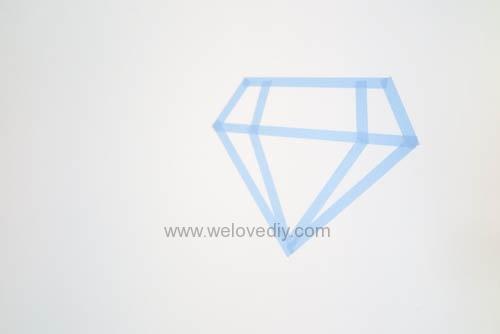 DIY 開學季紙膠帶鑽石宿舍租屋牆壁裝飾 (4)