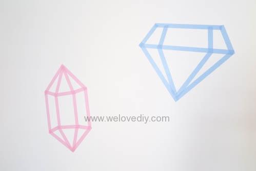 DIY 開學季紙膠帶鑽石宿舍租屋牆壁裝飾 (5)