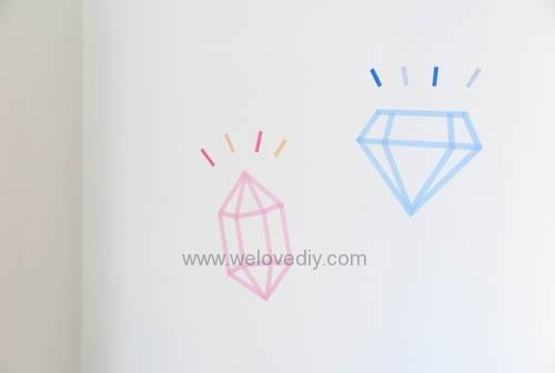 DIY 開學季紙膠帶鑽石宿舍租屋牆壁裝飾 (6)