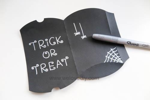 DIY Halloween Pillowbox Trick or Treat 萬聖節派盒禮物包裝蜘蛛網