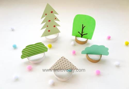 DIY 聖誕節廢物利用衛生紙捲軸環保親子手作裝飾聖誕樹 (2)