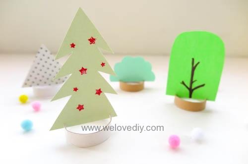 DIY 聖誕節廢物利用衛生紙捲軸環保親子手作裝飾聖誕樹