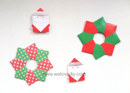 DIY 聖誕節耶誕裝飾花圈花環手作摺紙教學 (10)