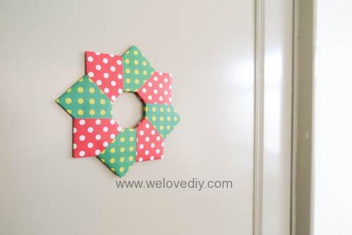 DIY 聖誕節耶誕裝飾花圈花環手作摺紙教學 (11)