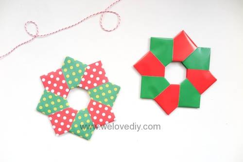 DIY 聖誕節耶誕裝飾花圈花環手作摺紙教學 (12)