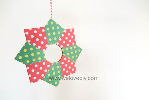 DIY 聖誕節耶誕裝飾花圈花環手作摺紙教學 (13)