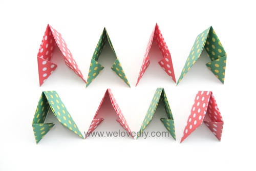 DIY 聖誕節耶誕裝飾花圈花環手作摺紙教學 (2)