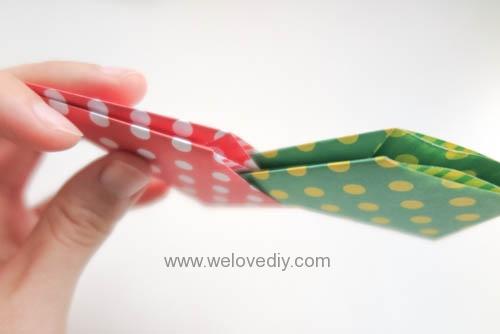DIY 聖誕節耶誕裝飾花圈花環手作摺紙教學 (3)