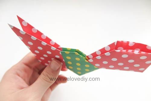 DIY 聖誕節耶誕裝飾花圈花環手作摺紙教學 (6)