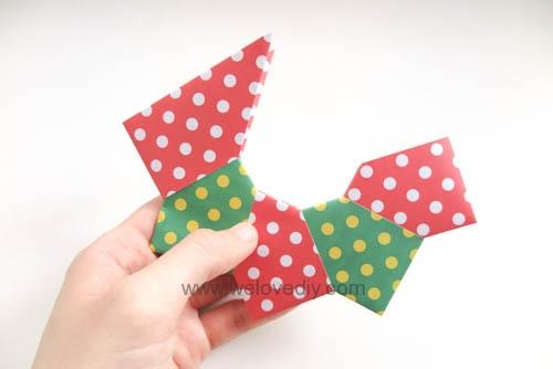 DIY 聖誕節耶誕裝飾花圈花環手作摺紙教學 (7)