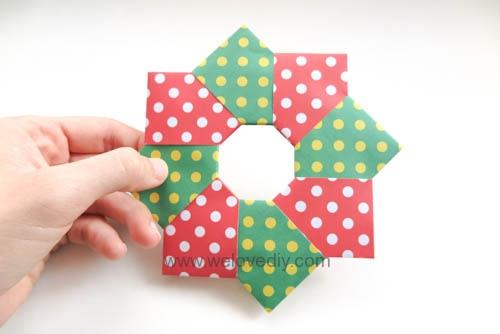 DIY 聖誕節耶誕裝飾花圈花環手作摺紙教學 (9)