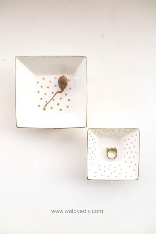 DIY DAISO 大創瓷器彩繪金色首飾鑰匙收納碟 (10)