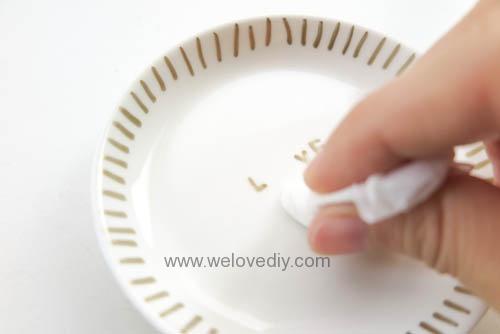 DIY DAISO 大創瓷器彩繪金色首飾鑰匙收納碟 (11)