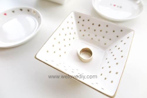 DIY DAISO 大創瓷器彩繪金色首飾鑰匙收納碟 (16)
